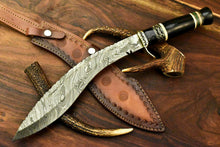 Load image into Gallery viewer, Custom Handmade Damascus Steel Kukri Knife | Sheath | Buffalo Horn Handle. - SUSA KNIVES