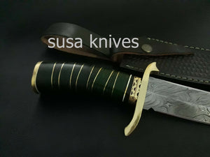 CUSTOM HANDMADE DAMASCUS STEEL ART/FANCY HUNTING KNIFE WITH LEATHER SHEATH - SUSA KNIVES