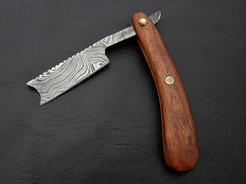 CUSTOM HANDMADE DAMASCUS STEEL BARBER FOLDING RAZOR ROSE WOOD HANDLE WITH POUCH - SUSA KNIVES