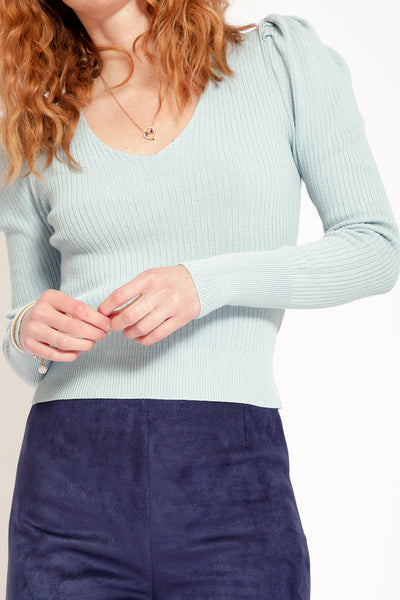 Long sleeve top with puff shoulder - Blue