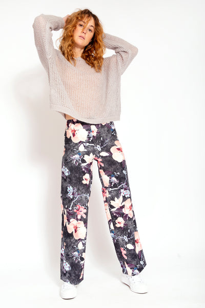 Wide leg trousers - Floral print Black