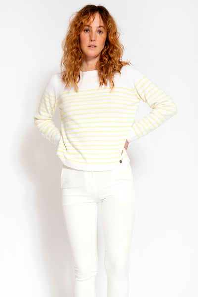 Wool blend with cashmere sweater with stripes - White and Lime
