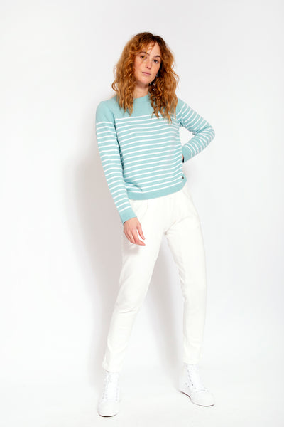 Wool blend with cashmere sweater with stripes - Mint and White