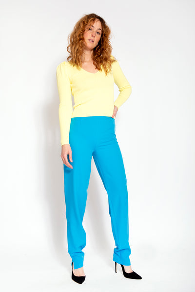 Long sleeve top with puff shoulder - Yellow