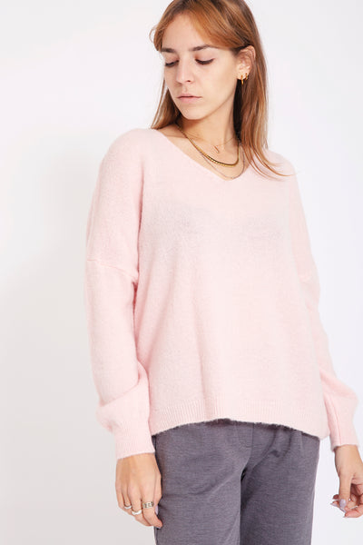 Rainbow Sweater met v-hals - Roze