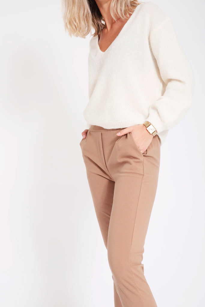 Joggingbroek met stretch - Beige