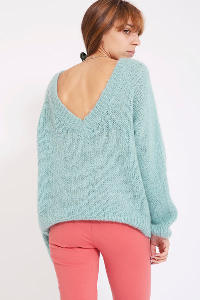 Sweater met v-back - Mintgroen
