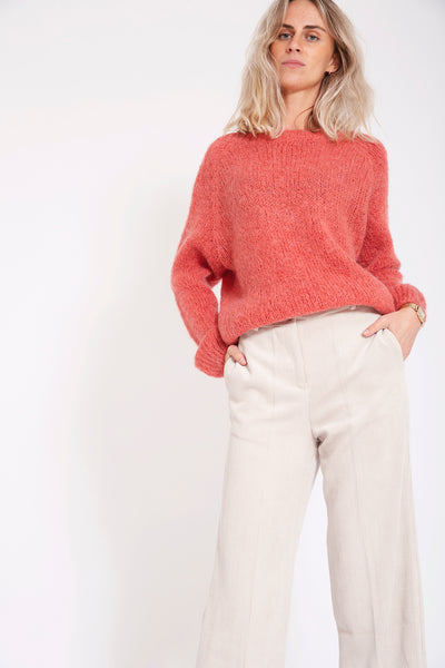 Sweater met v-back - Roze