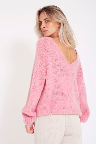 Sweater met v-back - Lichtroze