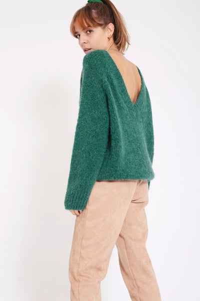 Sweater met v-back - Groen