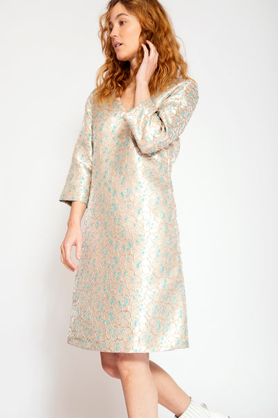 Elegant dress with V-neck-Gold Jacquard print with Blue Flowers