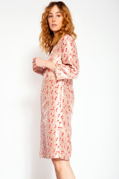 Elegant dress with V-neck-Gold Jacquard print with Pink Flowers