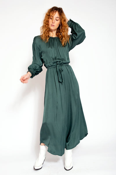 Long maxi dress with round neck and cuffs - Moss green