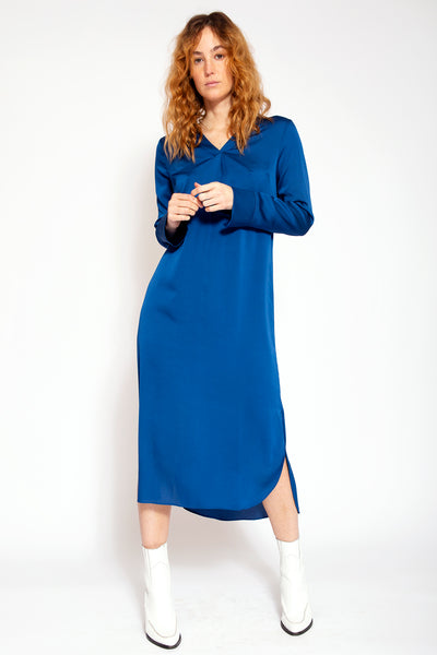 Midi dress with slits up V-neck and bottom - Blue