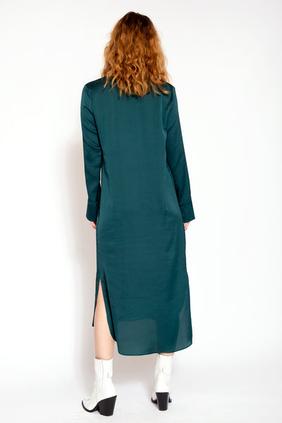 Midi dress with V-neck and split at the bottom - Green