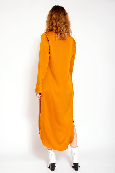 Midi dress with V-neck and split at bottom - Dark yellow