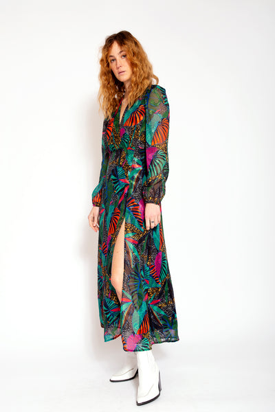 Long dress with split-Exotic print