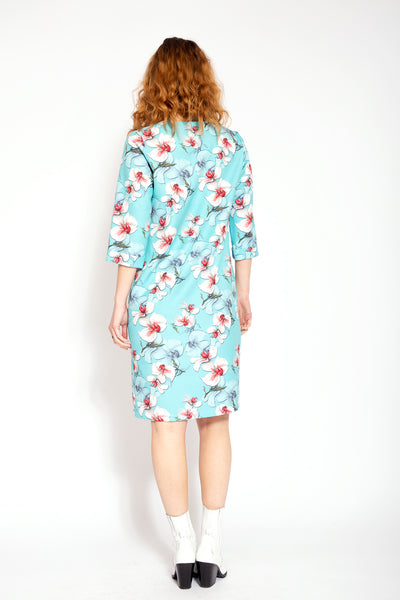 Straight dress knee length with floral print - Blue