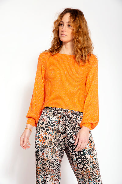 Knitted top with round neck, long puff sleeves and lurex - Orange