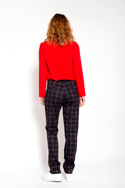 Smooth trousers with diamonds - Red