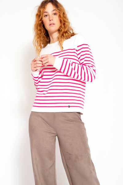 Wool blend with cashmere sweater with stripes - White and Fuchsia