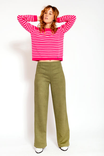 Wolmix with cashmere sweater with stripes-Fuchsia and White