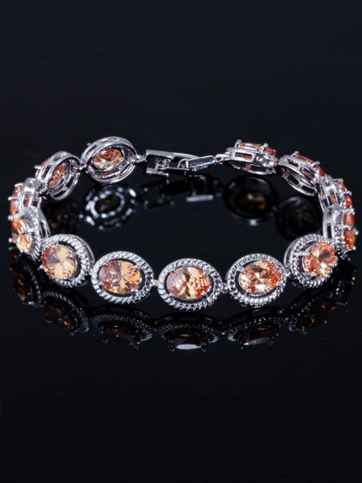 Armband met ovale steentjes -  Champagne