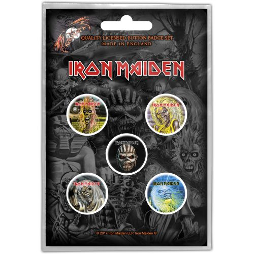 Iron Maiden - 5 x 2.5cm Button Set - Faces Of Eddie