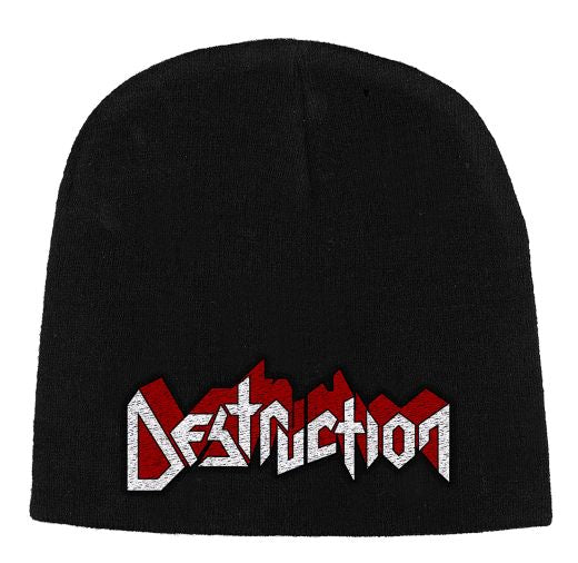Destruction - Knit Beanie - Embroidered - White/Red Logo