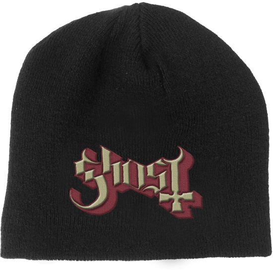 Ghost - Knit Beanie - Embroidered - Red/Gold Logo