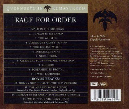 Queensryche - Rage For Order (rem. w. 4 bonus tracks) - CD - New