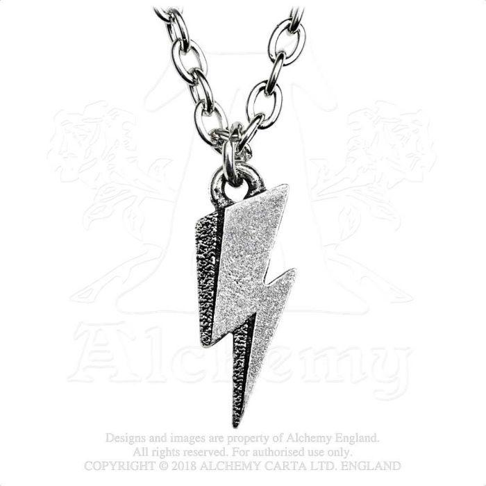 Bowie, David - Pewter Pendant and Chain - Lightning Flash (25mm x 8mm)