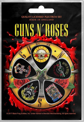 Guns N Roses - 5 x Guitar Picks Plectrum Pack (Appetite, Bullet, Fkn Hollywood, Flag, Logo))