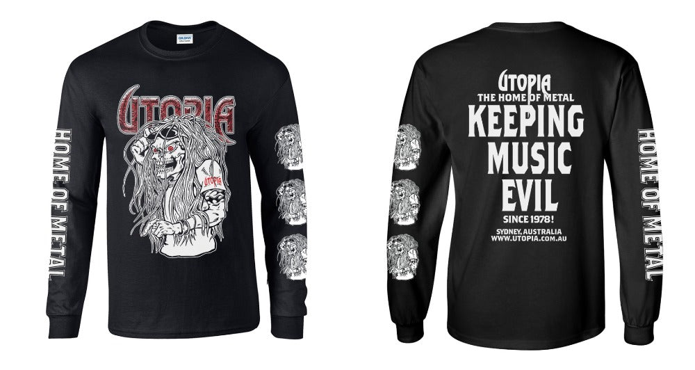 Utopia - Keeping Music Evil Since 1978 Black Long Sleeve Shirt