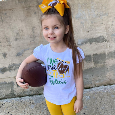 Personalized Live, Love, Football Appliqué Shirt for Girls in Green and Gold