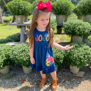 Personalized Pumpkin Appliqué Dress in Navy, Mustard, Teal, and Berry