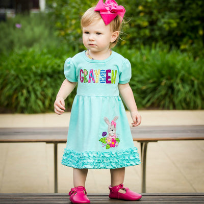 Floral Bunny Dress in Aqua