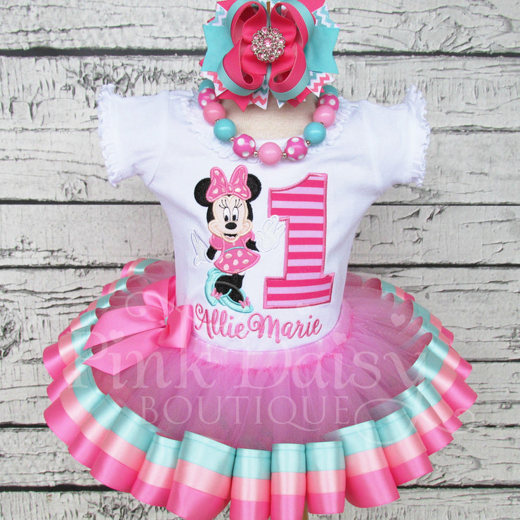Miss Mouse Birthday Tutu Outfit in Pink and Aqua