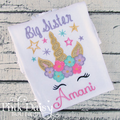 Big Sister Appliqué Birthday Shirt with Floral Unicorn and Stars