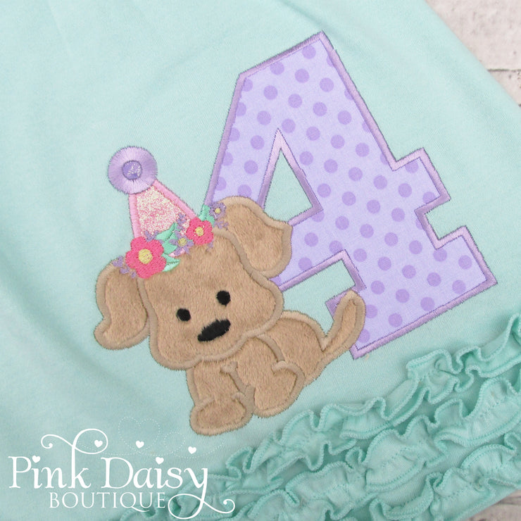 Puppy Birthday Dress in Mint