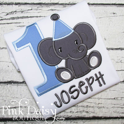 Boys Elephant Appliqué Birthday Shirt in Blue and Gray