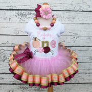 Pumpkin First Birthday Tutu Outfit in Peach, Pink, Maroon, and Gold