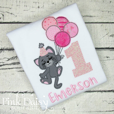 Kitty Cat Birthday Shirt in Pink