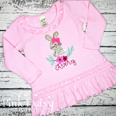 Floral Bunny Bodysuit, Shirt, or Dress in Pink