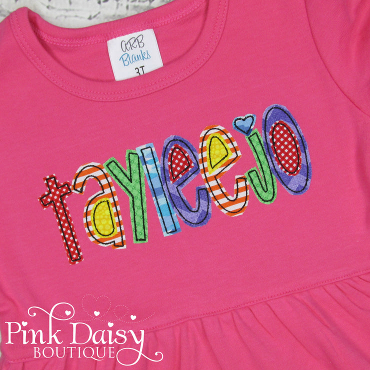 Hot Pink Appliqué Dress with Rainbow Name