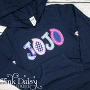 Personalized Hooded Tee - Pink, Aqua, and Navy Blue
