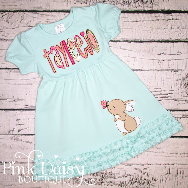 Bunny Dress in Mint, Pink, Coral, and Gold