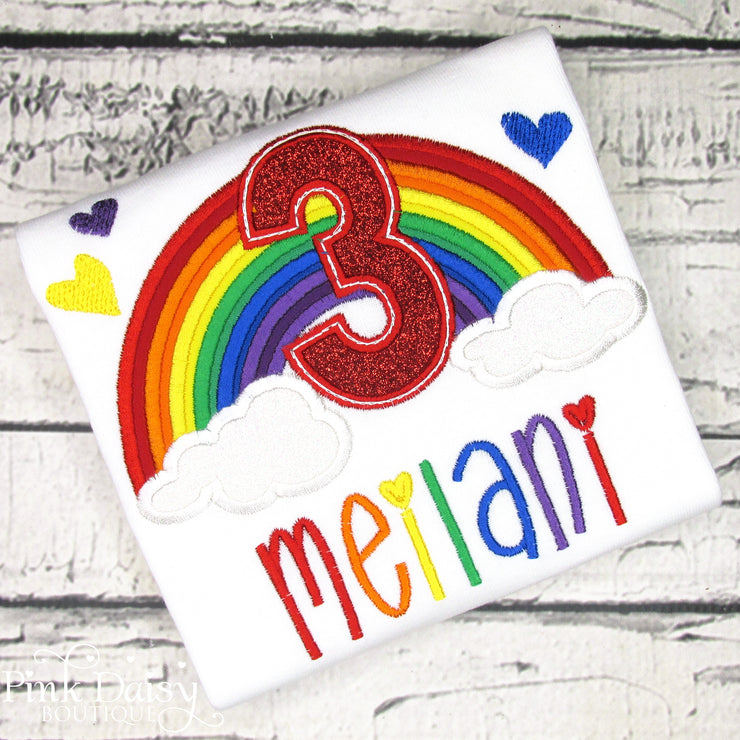 Rainbow Appliqué Birthday Shirt in Primary Colors