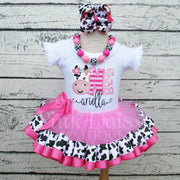 Floral Cow First Birthday Tutu Outfit