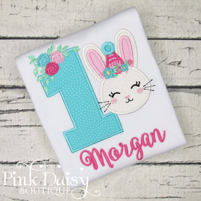 Bunny Birthday Shirt with Floral Accents